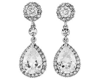 Glam Vintage style Crystal Droplet Pearl Earrings, bridal earrings, prom earrings, bridal accessories, bridal jewellery