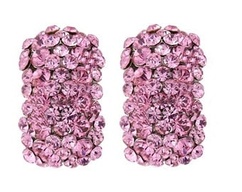Pink Clip on Crystal Cluster Earrings, bridal earrings, prom earrings,  bridal jewellery, clip on earrings, hollywood glamour