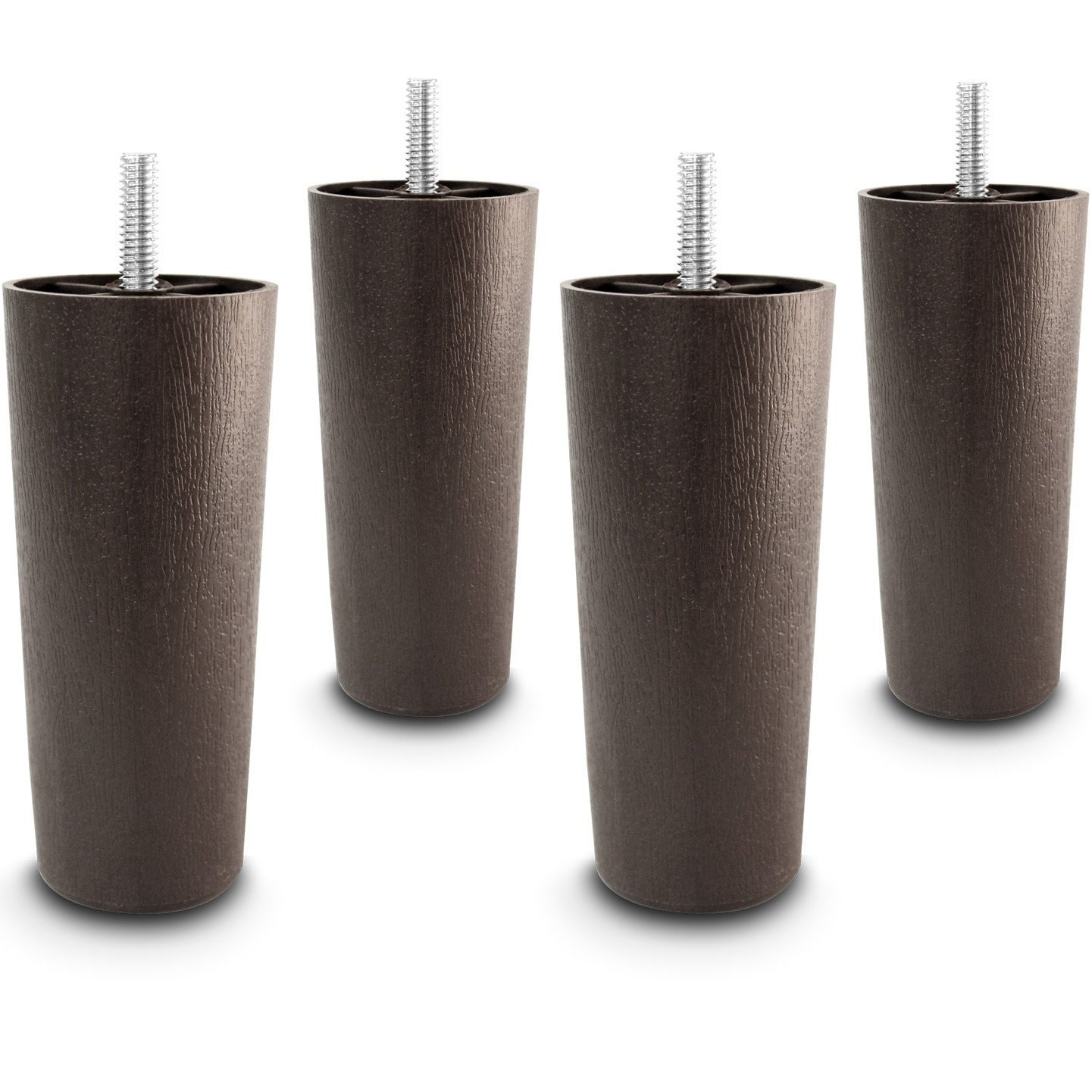 5 Universal Dark Brown Plastic Furniture Legs