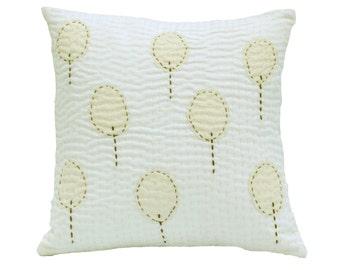 Scandinavian Throw Pillows Linen Pillow in Cream On White Pillow Sashiko Embroidered Pillows- Decorative Pillows For Couch