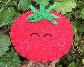 Tomato pin felt brooch
