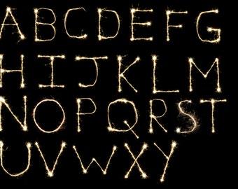 Sparkler Letter Overlays