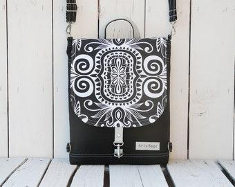 Custom Black Mandala Canvas Backpack, Mini Convertible Bag,  Women Functional Crossbody, Elegant Minimalist City Backpack, Christmas Gift