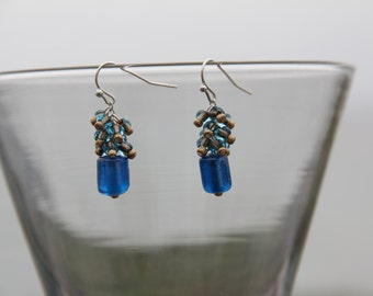 Blue and Gold Cluster Earrings