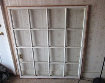 "Unique sized wooden window 53 1/2"" X 47"" with 16 panes"