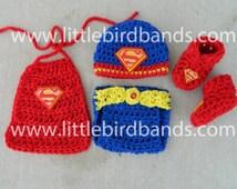 Crochet newborn superman outfit, superman hat, photo prop