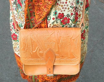 Cross body Bag With Real Leather, Messenger shoulder bag with Pyrography