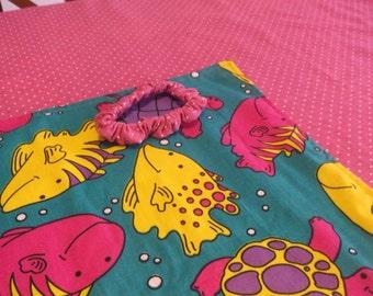 "Handmade Kids Reversable ""Tropical Fish and Polka Dots"" Blanket - New"