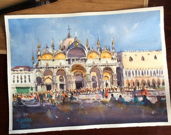 "Original Watercolor painting ""St.Mark's square,Venice"""