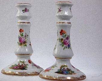 2 Antique German Dresden Porcelain Romantic Scenes Flowers Candlesticks
