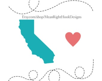 California SVG, state svg, silhouette, heart svg, and dotted lines INSTANT DOWNLOAD vector files for cutting machines - svg, png, dxf, eps