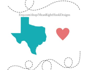 Texas SVG, Dotted line svg, Texas state silhouette svg, heart svg, INSTANT DOWNLOAD vector files for cutting machines - svg, png, dxf, eps