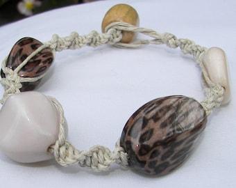 Hemp Bracelet macrame big beads