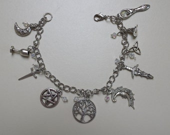 Wiccan charm bracelet with clear crystals