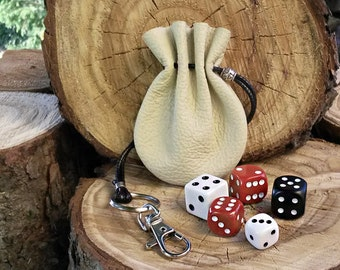Small Ivory Leather Dice Bag, Drawstring Coin Pouch,
