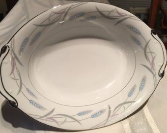 "Vintage Valmont China Royal Wheat 10"" Oval Vegetable Bowl"
