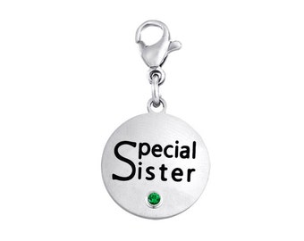 Special Sister Disc Charm With Personalized Birthstone