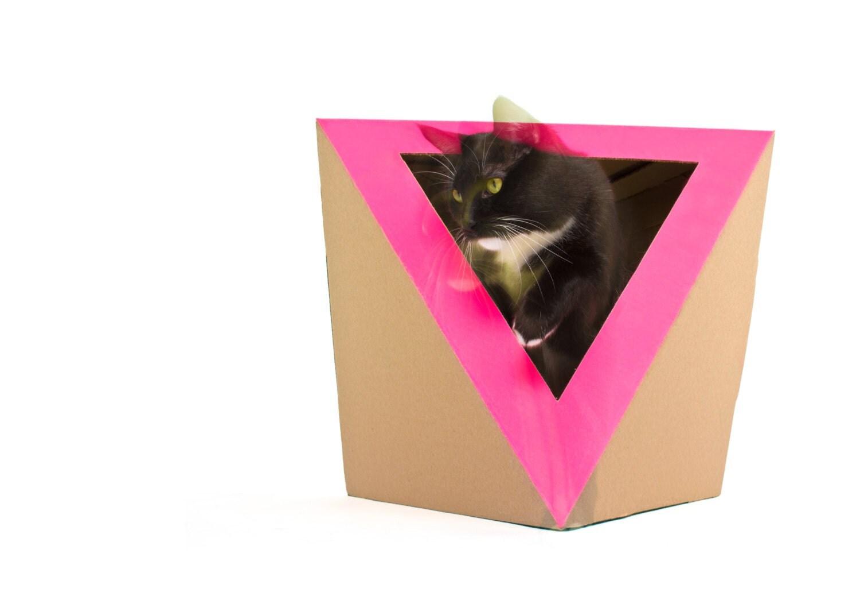 octacat pink cardboard cat house. Black Bedroom Furniture Sets. Home Design Ideas