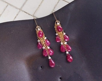 Gold Filled Waterfall Earrings with Scattered Faceted Ruby Briolettes & Pearls