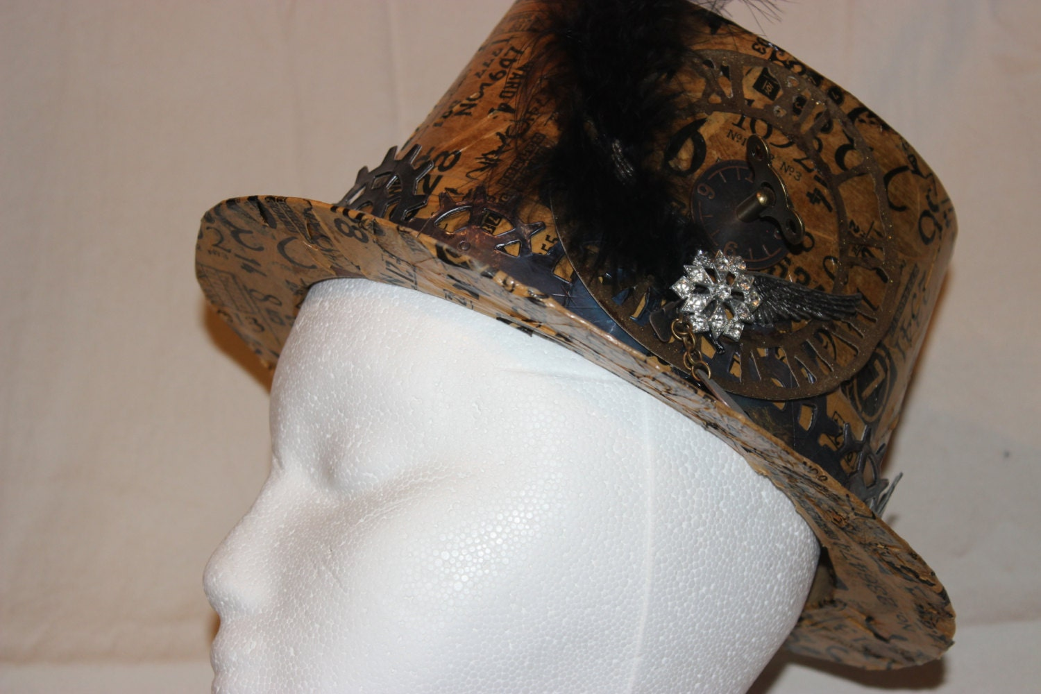 Steampunk altered paper mache hat a perfect by alteredpurposes for Perfect paper mache
