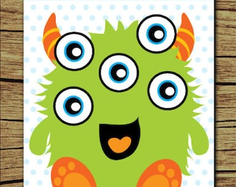 Monster Birthday Party/ 18x24 Poster Size Printable Game /  Monster Party Games/ Pin the Eye on the Monster Game