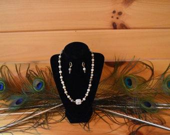 "Necklace, 18""  Italian onyx and acrylic"