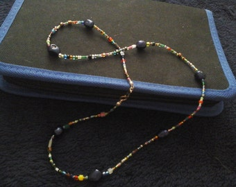 Blue Pearl Rainbow Seed Bead Necklace