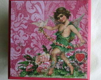 Trinket Treasure Jewellery Storage Box Cherub Pink