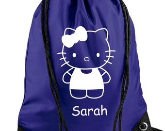 Personalised Hello Kitty With Bow PE/Swim Bag - *Choice of colours*