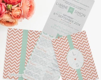 Chevron Chic Folded Wedding Invitation