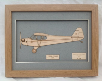 Airplane Piper cub J3 L4 - Laser engraved-cut original 2D-3D picture