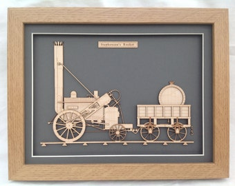 Stephenson Rocket 1829 fine art Steam Train locomotive - Laser engraved-cut original 2D-3D picture