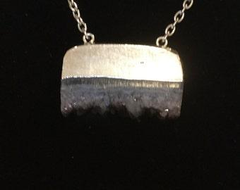 Amethyst Druzy sliced pendant