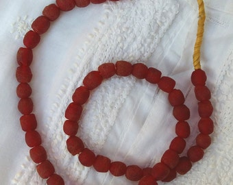 Red Krobo Powder Glass beads, Recycled Glass Beads, Bead Necklace