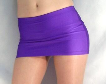 Spandex mini skirt with power net lining Purple