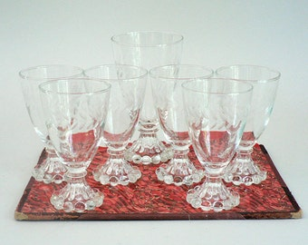 Footed Glass Wine Goblets or Sherbets