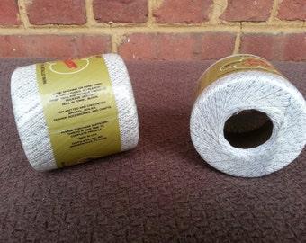 J&P Coats Metallic Knit-Cro-Sheer White and Silver Yarn Set of 2 - 100 yards