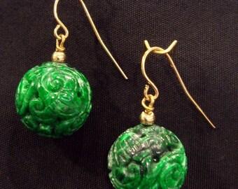 Carved Bead Earrings