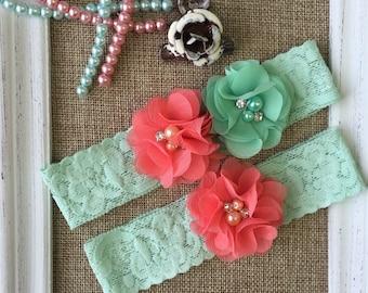 Wedding Garter Set , mint and coral wedding garter ,  lace wedding garter , toss garter , wedding garter , bride garter