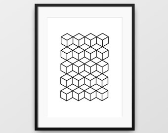 Geometric Print, Black and White, Geometric Shapes, Geometric Wall Art, Printable Wall Art, Modern Art, Minimalist Prints, Wall Decor