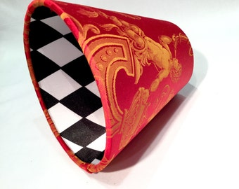 Red / Black and White Harlequin Woven Silk Candle / Clip on Lamp Shade - Red Lamp Shade - Black & White Lampshade - Home Decor