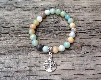 Amazonite Gemstone Elastic Bracelet with Tree of Life Tag