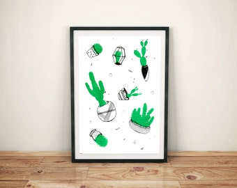 A4 RISO cactus print