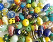 1 Pound vintage style supper delux handmade multy mix colour LAMPWORK glass beads mix ONE POUND.