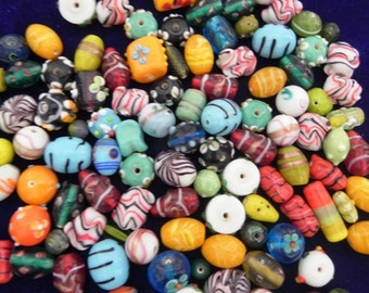 1 Pound vintage style supper delux handmade mix colour combination LAMPWORK glass beads mix ONE POUND.