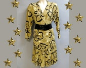 100% SILK, Vintage 80's Does 20's, Floral SAKS 5th Ave. Dress, size 6