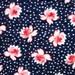 """Vintage Seersucker Fabric, 100% Cotton, Navy-Red-White Floral, 40"""" x 26"""""""