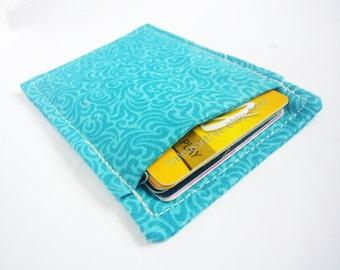 Green portefeuille, minimalist womens wallet, slim business credit card case, travel organizer card holder, id1360688, front pocket