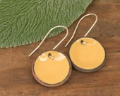 Enameled lucky penny earrings, bright and colorful, bright and colorful