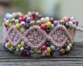 REDUCED Micro-Macrame Beaded Hemp Cuff Bracelet - Dusty Pink with Pastel Matte Finish Beads